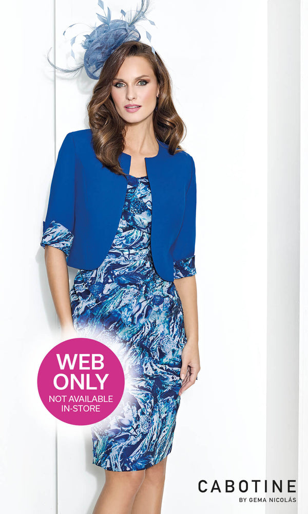 5008055 Azulon Blue Cabotine Dress And Bolero