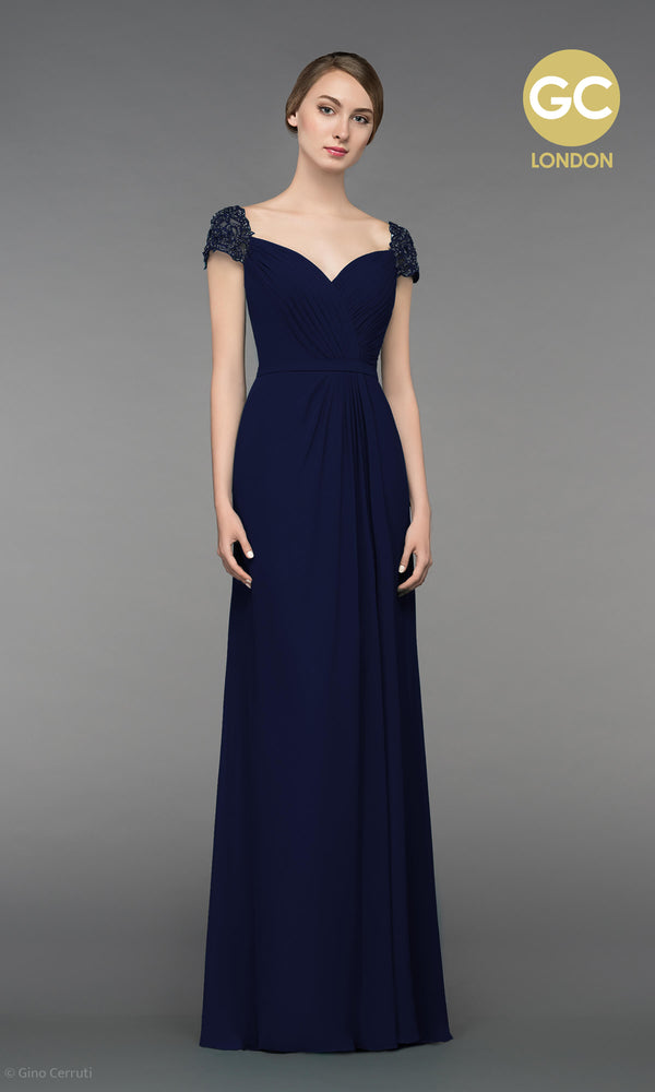 5038V Navy Gino Cerruti Dress With Pleated Crossover Bust