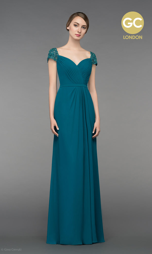 5038V Teal Gino Cerruti Chiffon Dress With Cap Sleeves