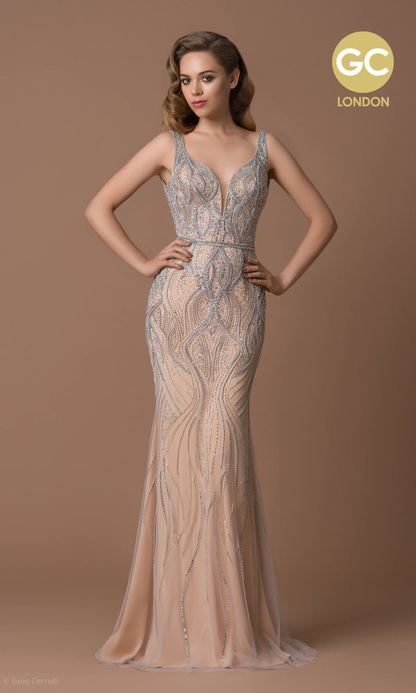 6042D Champagne Gino Cerruti Beaded Red Carpet Dress