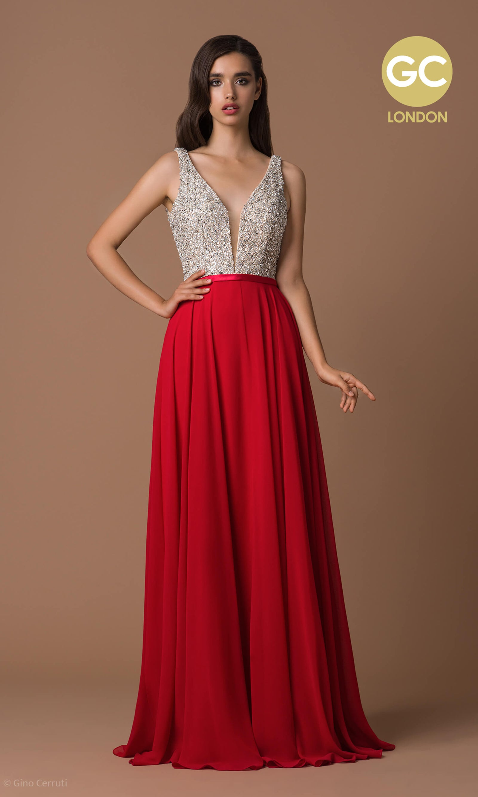 6058D Scarlet Gino Cerruti Sparkle Top Plunge Neck Dress - Fab Frocks