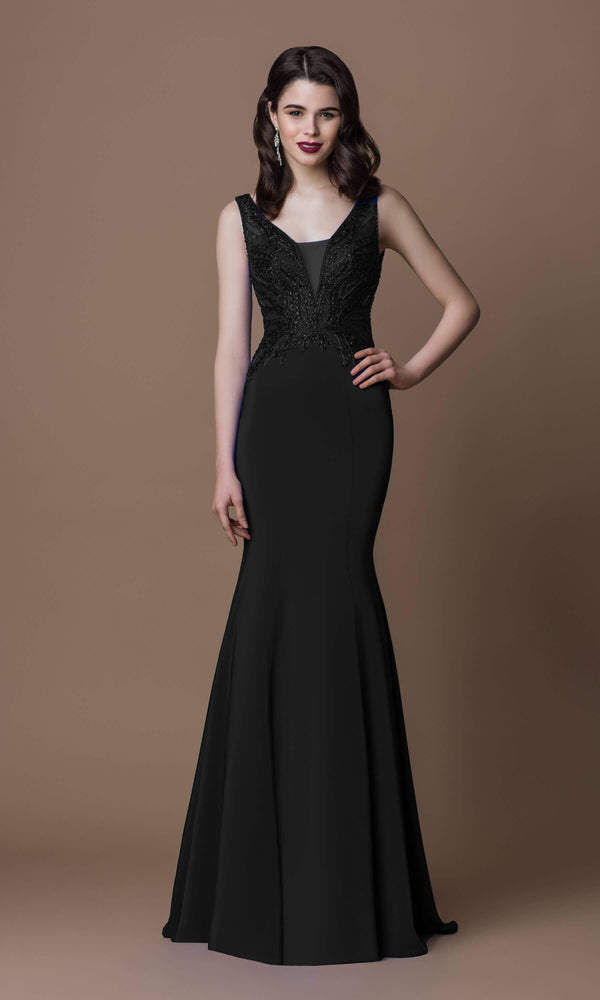 7005B Black Gino Cerruti Fit And Flare Evening Dress - Fab Frocks
