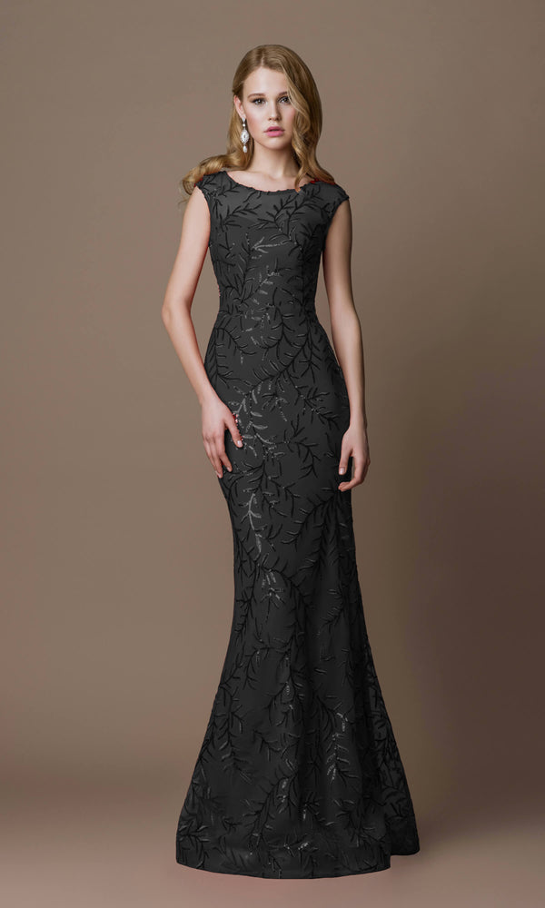 7008H Black Gino Cerruti High Neck Sequin Design Dress
