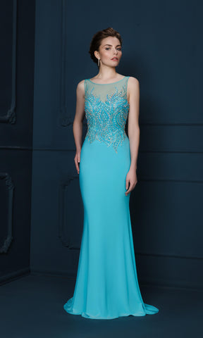 746J Turquoise Gino Cerruti Beaded Bodice Evening Dress - Fab Frocks
