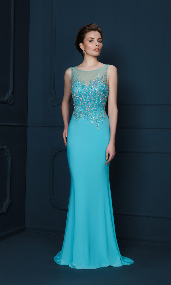 746J Turquoise Gino Cerruti Beaded Bodice Evening Dress