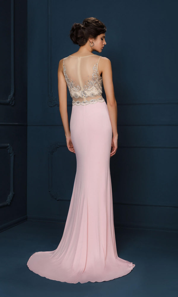 776B Pink Gino Cerruti Mock Two Piece Evening Dress