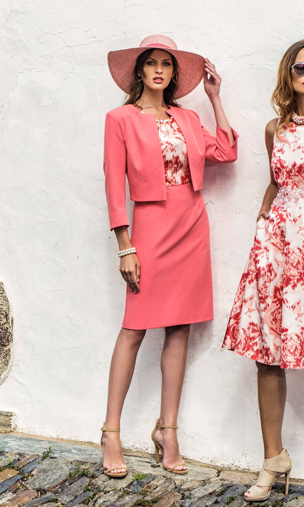 8803 8859 Salmon Pink Michaela Louisa Dress & Bolero - Fab Frocks