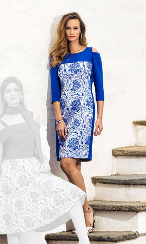 8804 Royal Blue Michaela Louisa Cold Shoulder Print Dress - Fab Frocks