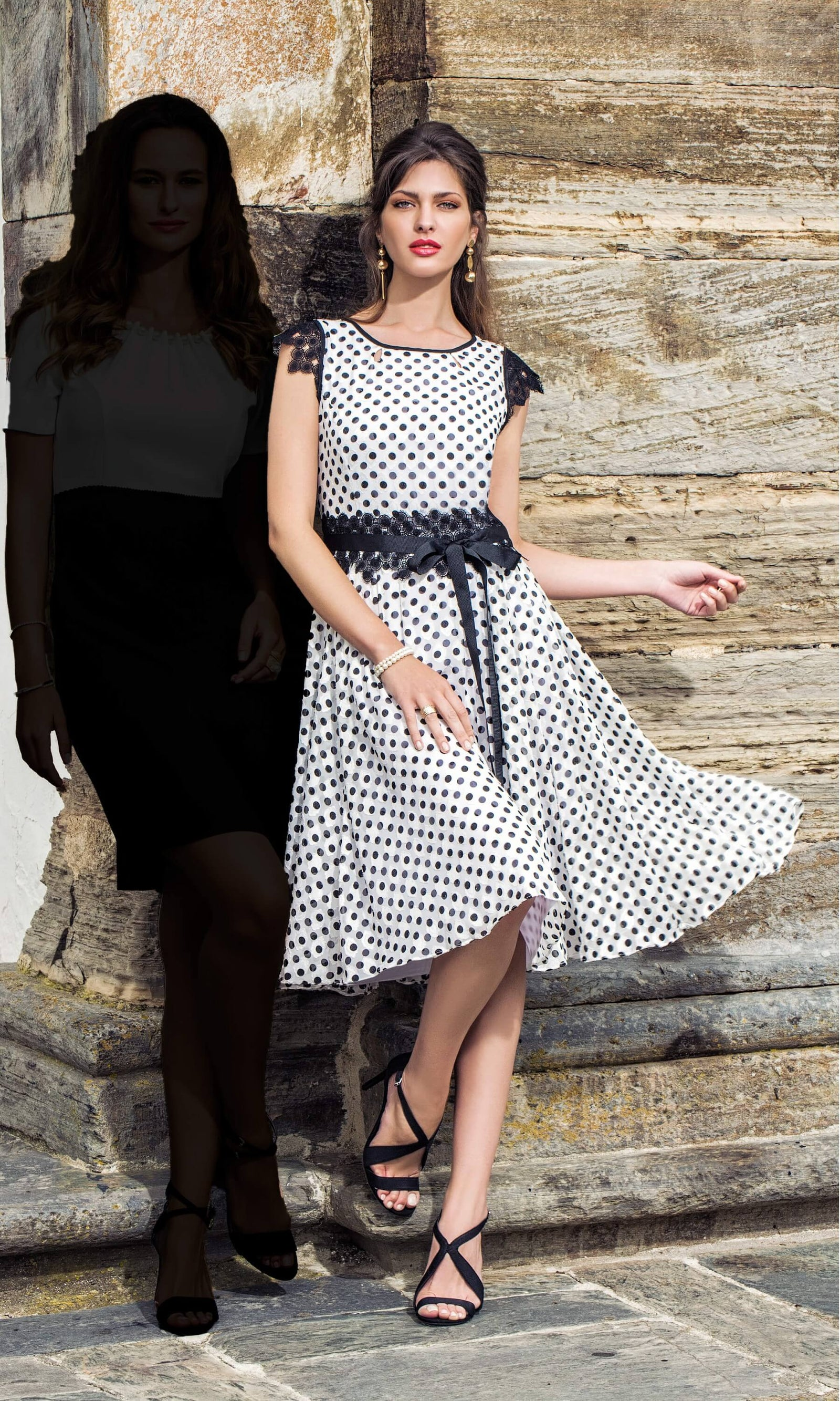 8810 Black White Michaela Louisa A-Line Polka Dot Dress