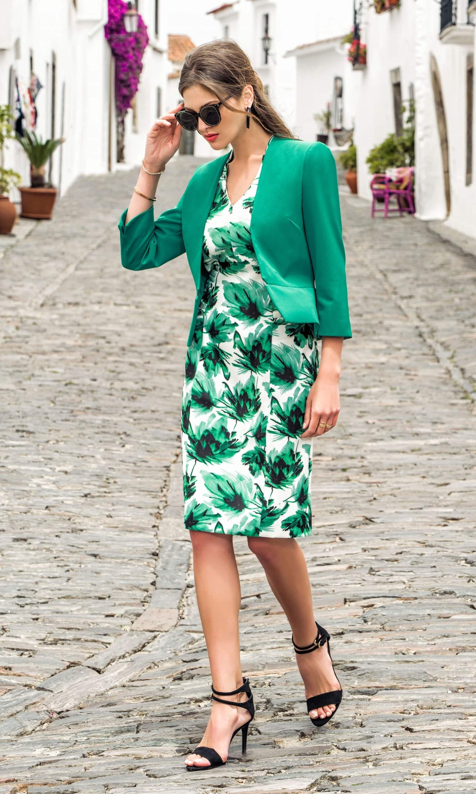 8812 8838 Green Print Michaela Louisa Dress With Bolero - Fab Frocks
