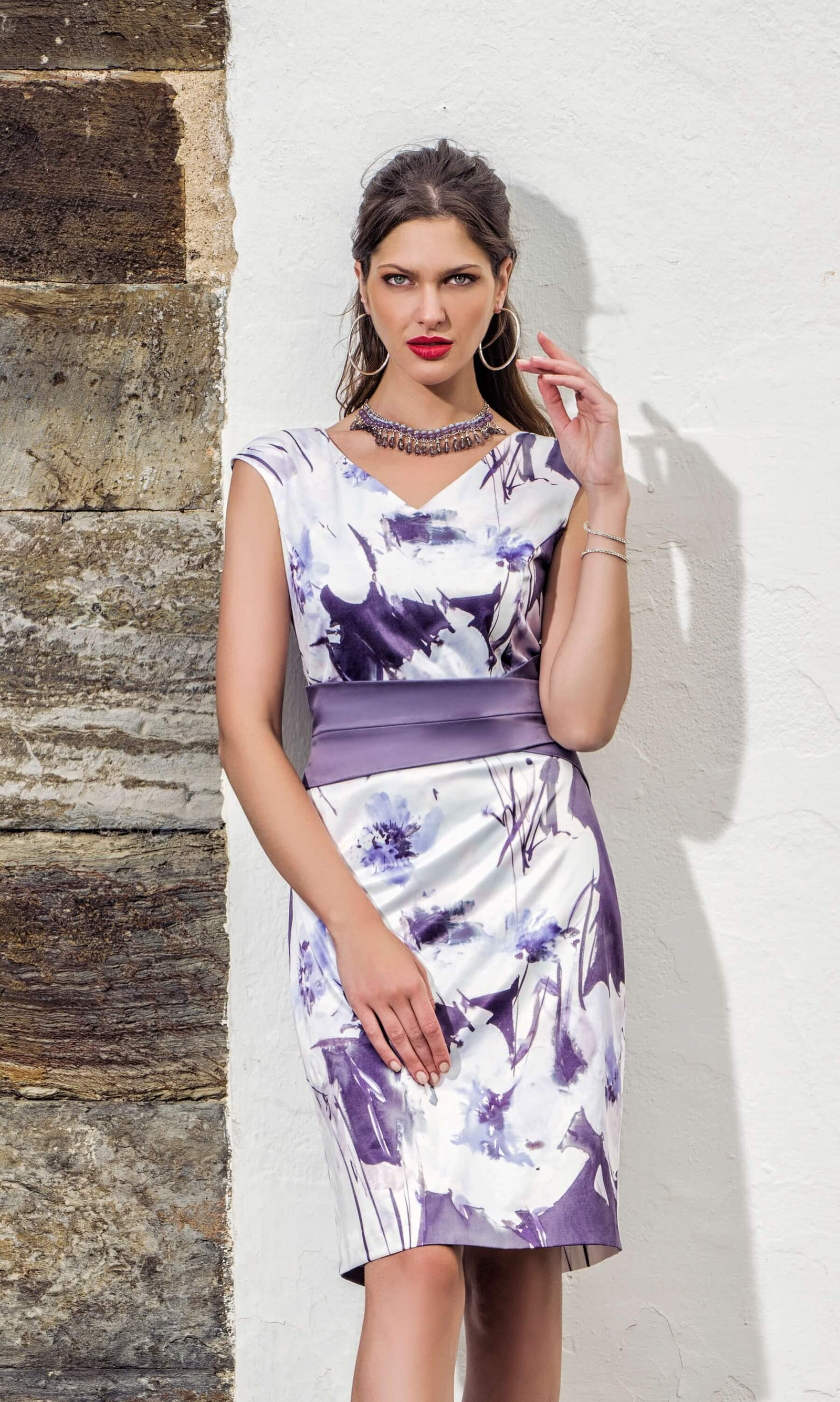 8819 Dusky Purple Michaela Louisa Print Dress