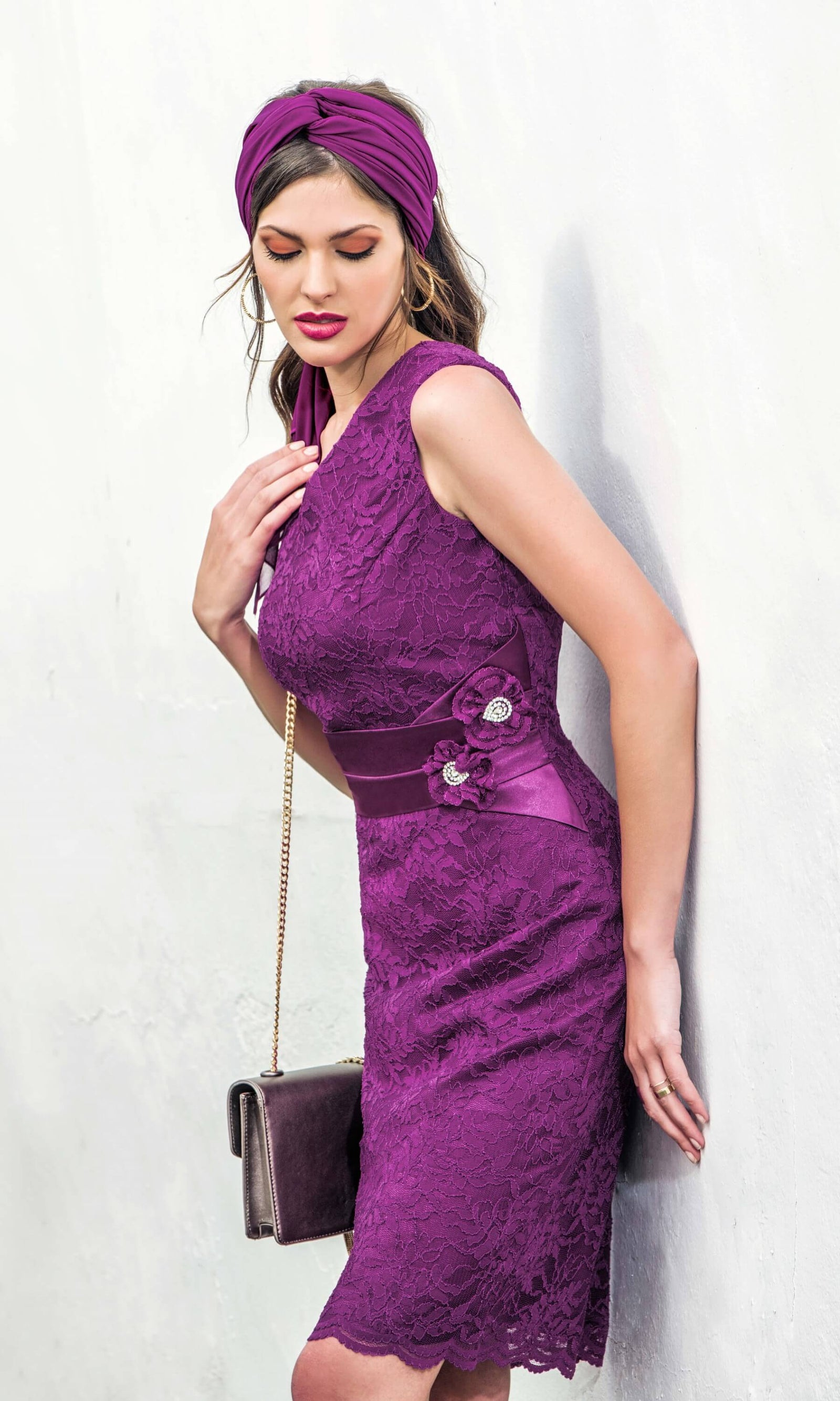 8822 Purple Michaela Louisa Lace Special Occasion Dress - Fab Frocks