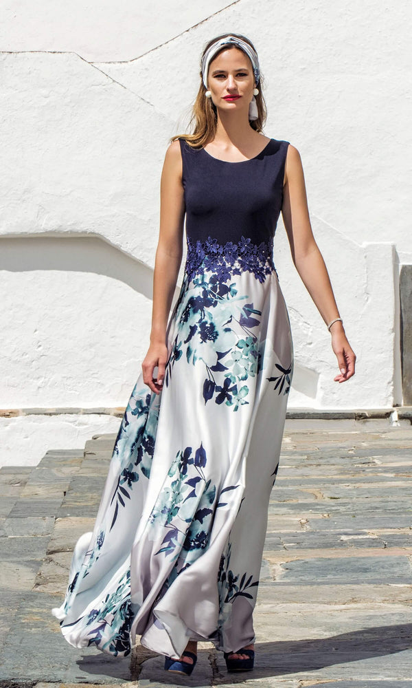 8832 Navy Michaela Louisa Floral Print Maxi Dress