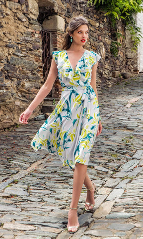 8835 Grey Yellow Michaela Louisa Floral Print Wrap Dress - Fab Frocks