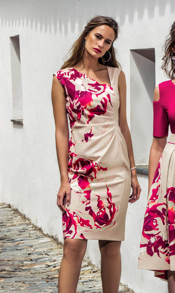 8843 Pink Michaela Louisa Floral Print Ruched Dress - Fab Frocks