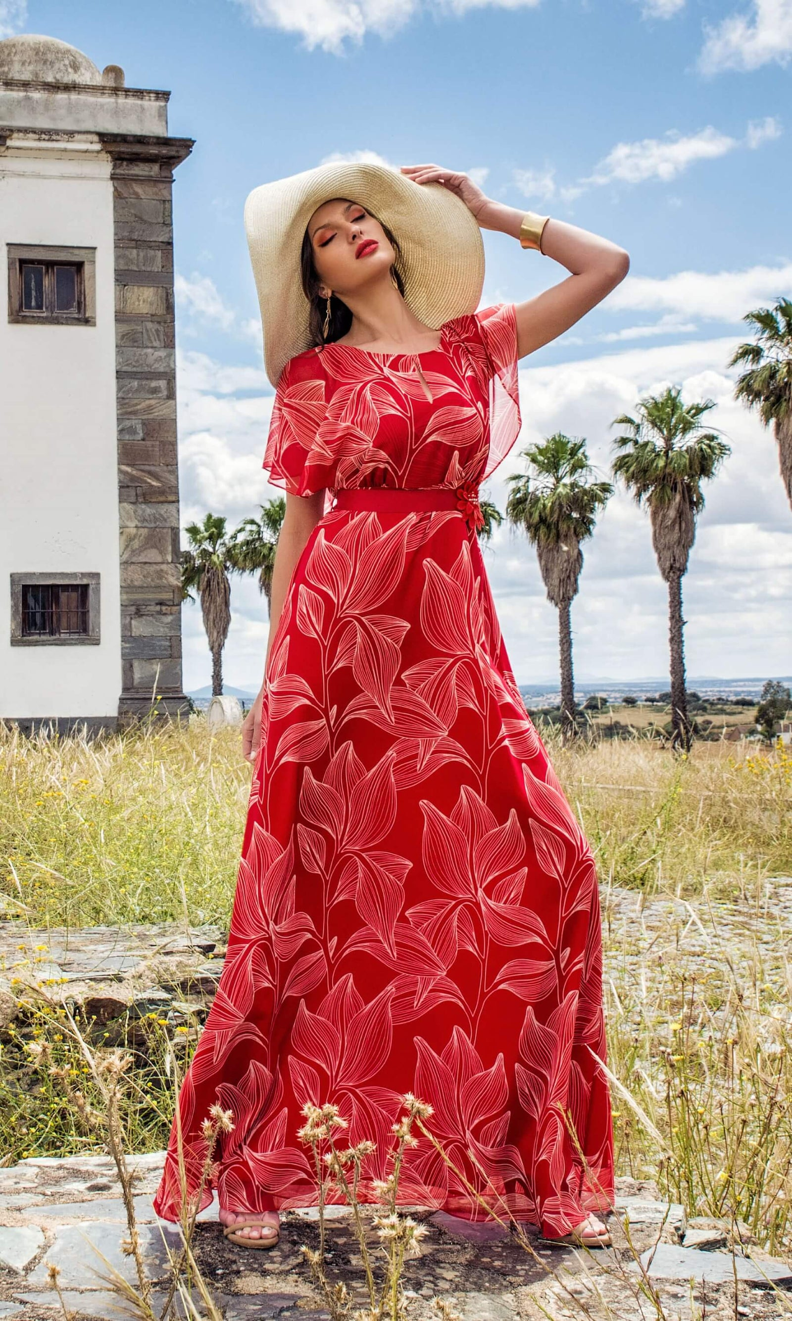 8847 Red Michaela Louisa Floaty Chiffon Print Maxi Dress