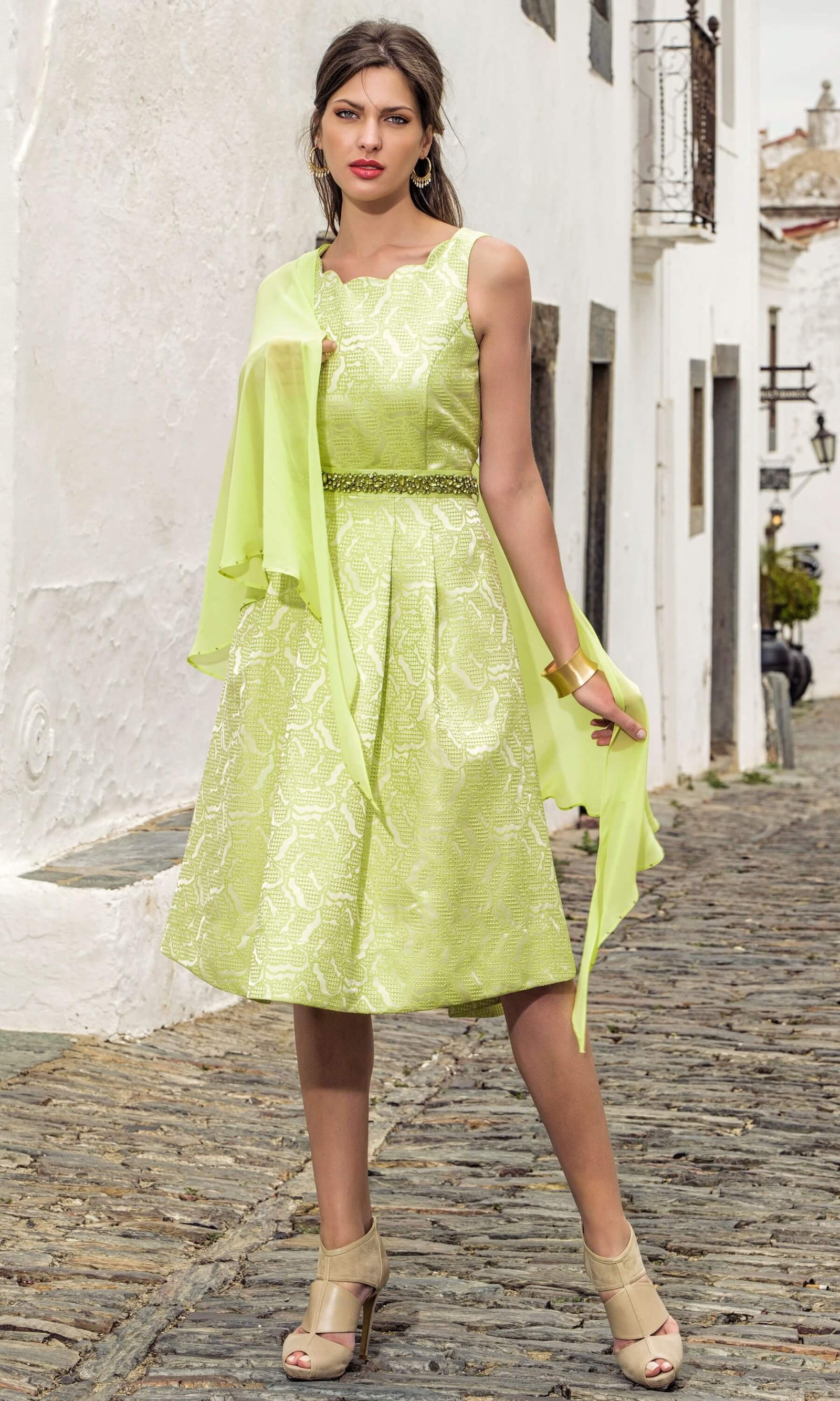 8866 8809 Lime Green Michaela Louisa A-Line Dress & Wrap