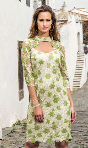 8875 Green Michaela Louisa Floral Lace Dress With Sleeves - Fab Frocks