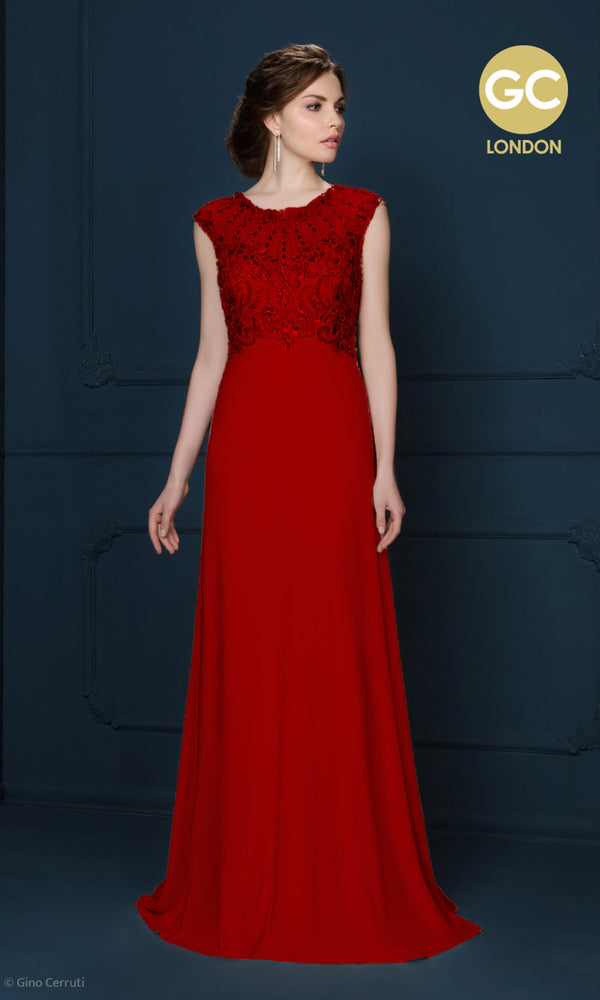 2067S Red Gino Cerruti High Neck Jersey Evening Dress