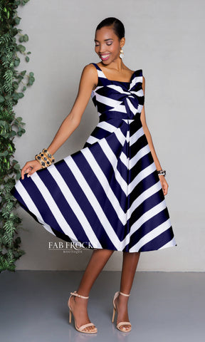 Carla Ruiz 97550 Navy White Stripe Midi Dress - Fab Frocks
