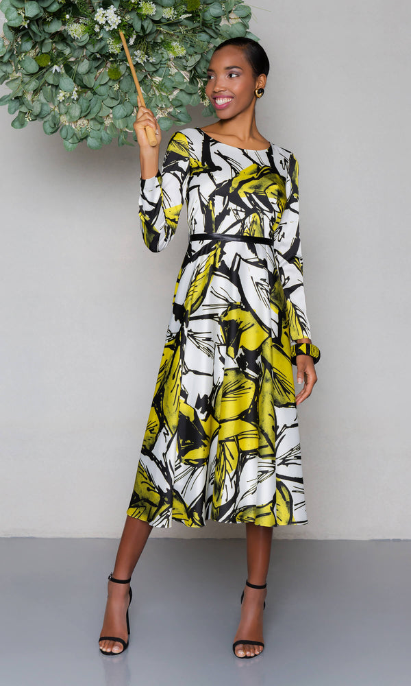 Carla Ruiz 97579 Amarillo Lime Print Midi Dress - Fab Frocks