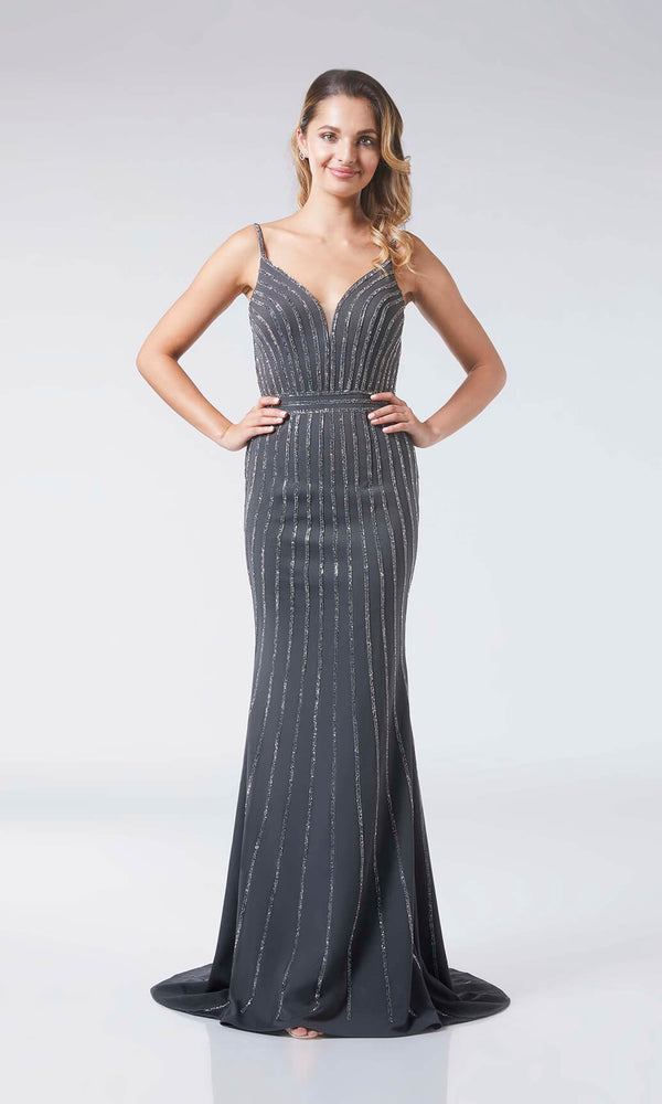 Alexandra Gunmetal Tiffanys Sparkle Evening Prom Dress