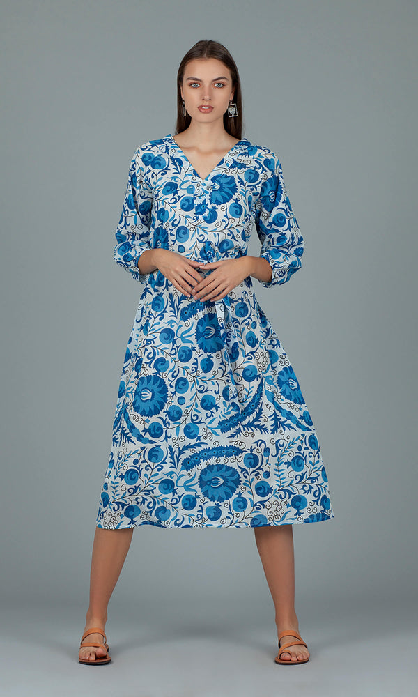 Dream Fashions AN270B Serafina Blue Afghan Dress - Fab Frocks