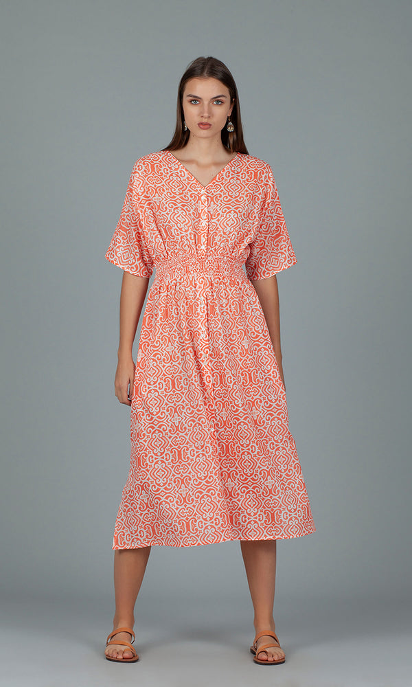 Dream Fashions AN287C Hanoi Dress Lama Coral - Fab Frocks