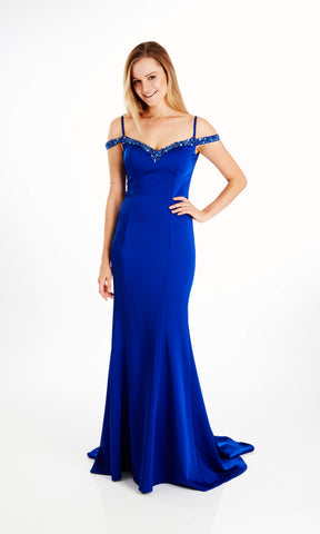 Aria Royal Blue Crystal Breeze Cold Shoulder Evening Dress - Fab Frocks