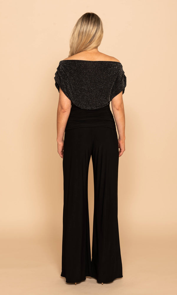 Carbon Black Sparkle Atom Label Evening Party Jumpsuit - Fab Frocks