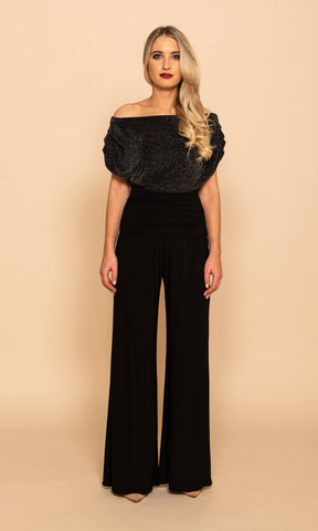 Carbon Black Sparkle Atom Label Evening Party Jumpsuit