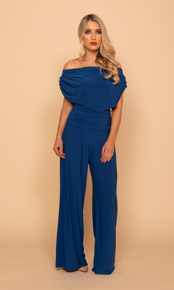 Carbon Cobalt Atom Label Jersey Jumpsuit - Fab Frocks