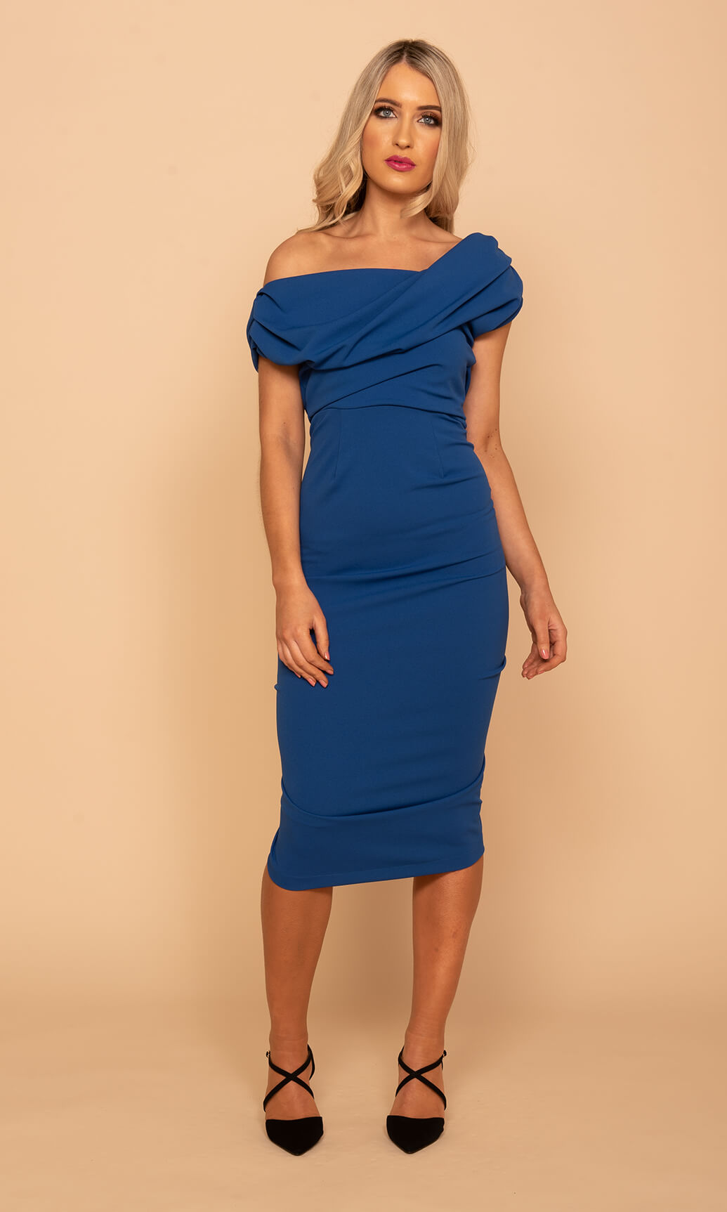 Janus Cobalt Blue Atom Label Waterfall Back Dress