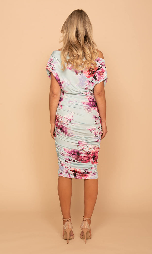 Oxygen Mint Magenta Atom Label Floral Jersey Dress - Fab Frocks