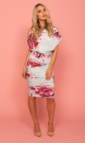 Oxygen Mint Magenta Atom Label Floral Jersey Dress