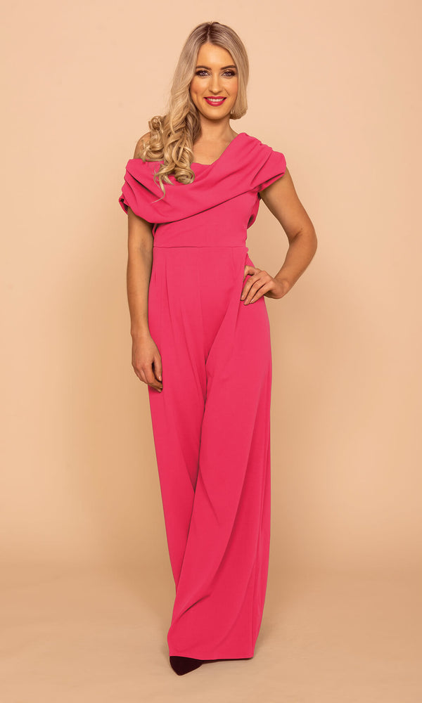 Venice Shocking Pink Atom Label Jumpsuit - Fab Frocks