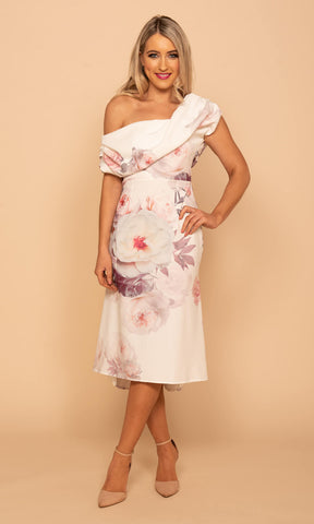 Vienna Pink Atom Label Midi Fishtail Floral Dress - Fab Frocks