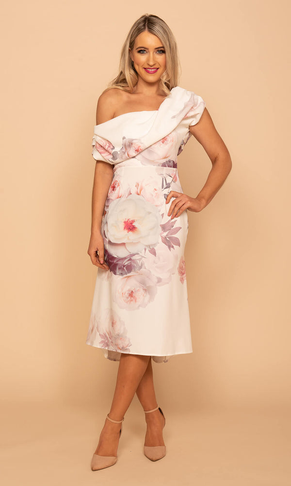 Vienna Pink Atom Label Midi Fishtail Floral Dress