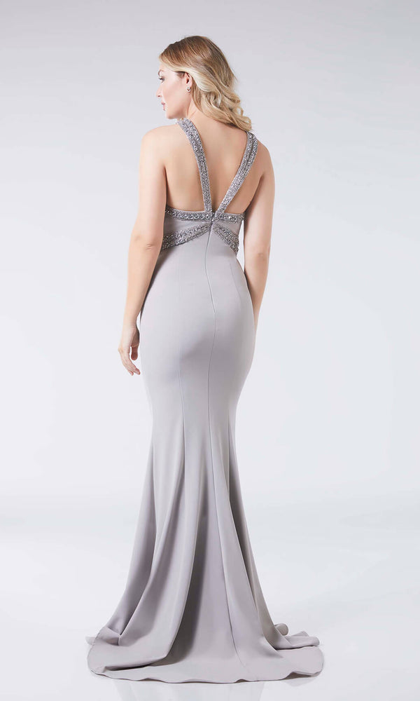 Chloe Silver Tiffanys Wide Strap Halter Look Dress - Fab Frocks