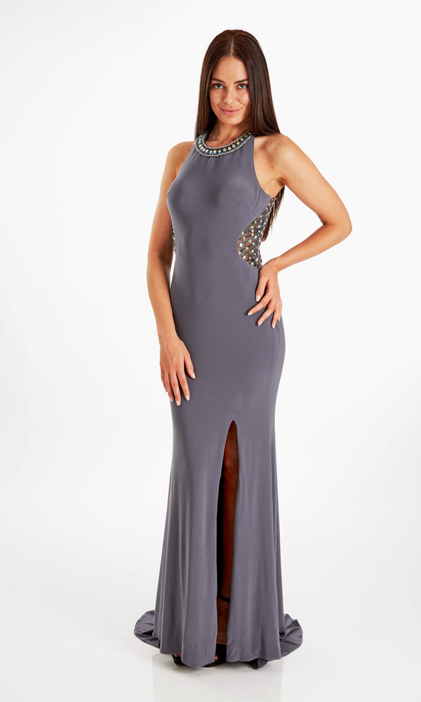 Carina Pewter Crystal Breeze Halter-Neck Low Back Dress