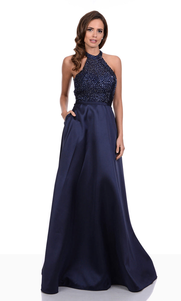 0275 Navy Christian Koehlert Halterneck Evening Dress - Fab Frocks