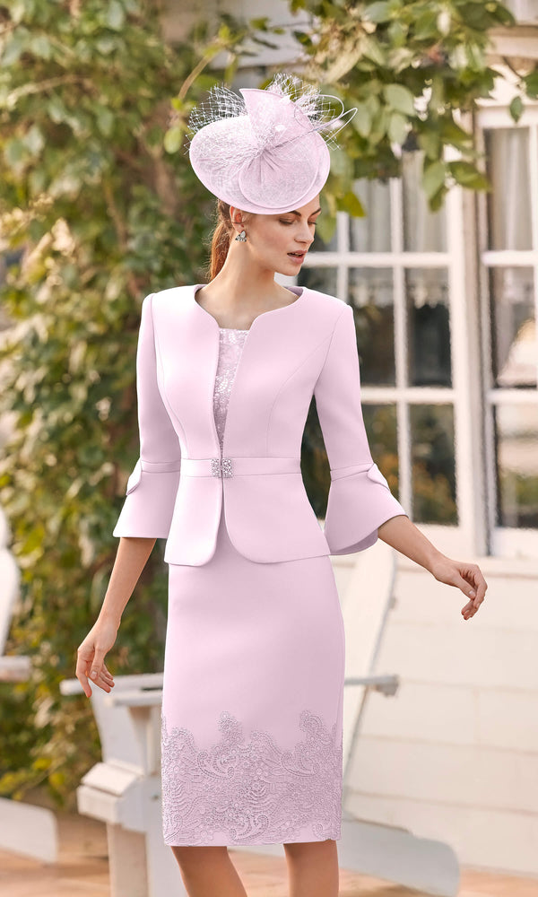 Couture Club 5G255 Pale Pink Dress With Lace & Jacket - Fab Frocks
