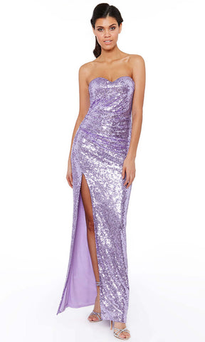 D2164 Lavender City Goddess Strapless Sequin Evening Dress