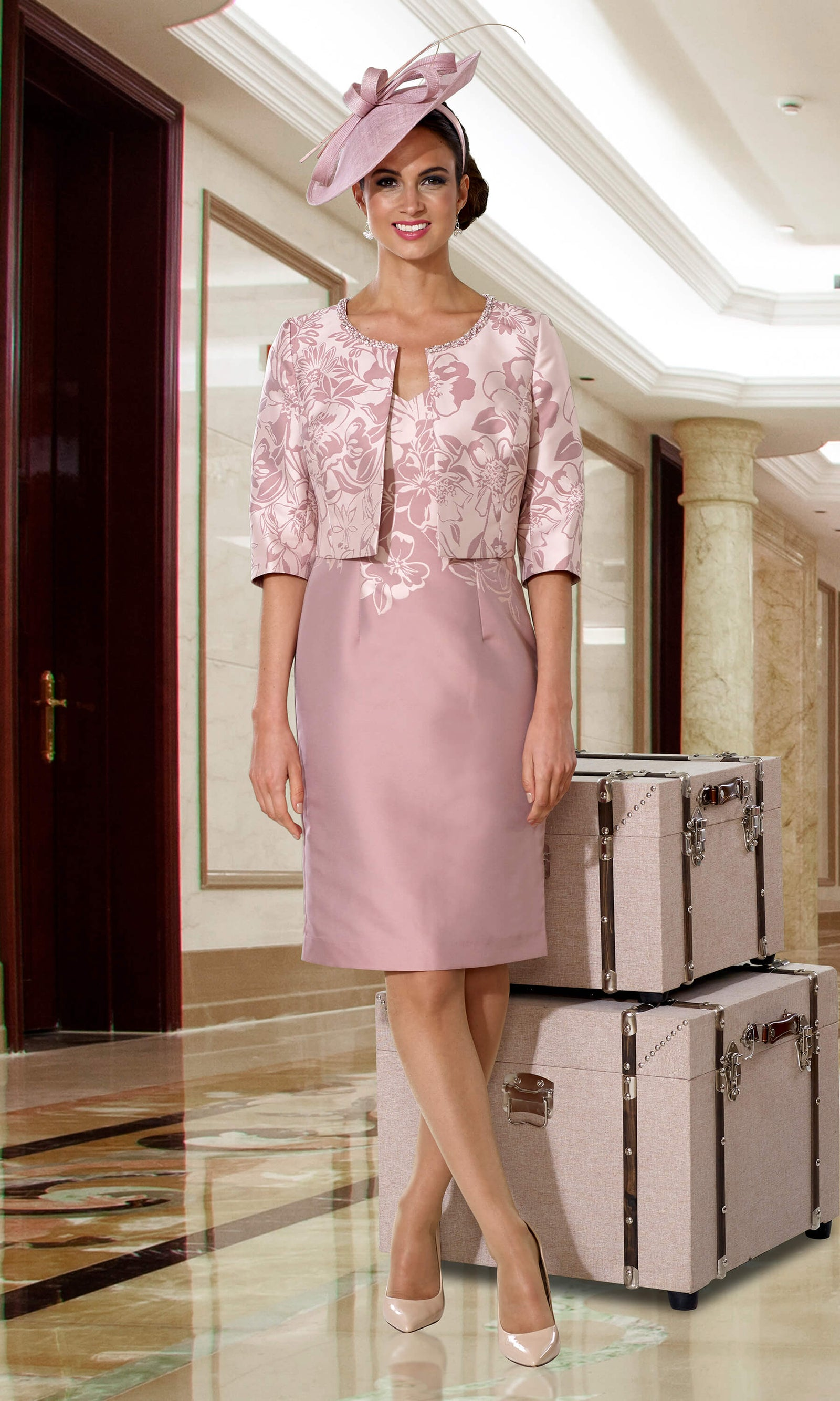 DC133D Pink Rose Dress Code Dress & Bolero Jacket