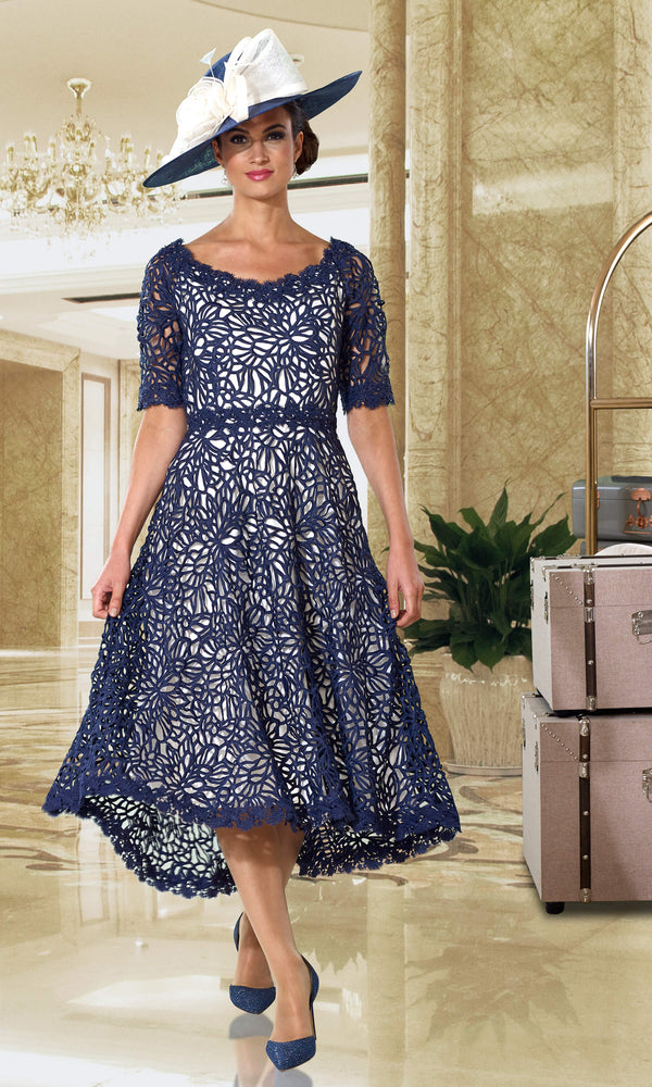 DC395S Navy Ivory Dress Code Guipure Lace Dress - Fab Frocks