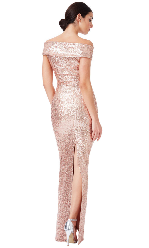 DR1007 Champagne City Goddess Off the Shoulder Sequin Dress