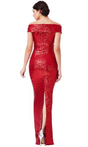 DR1007 Red City Goddess Sequin Bardot Evening Dress