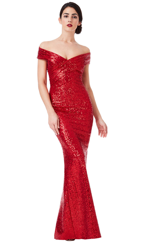 DR1007 Red City Goddess Sequin Bardot Evening Dress - Fab Frocks