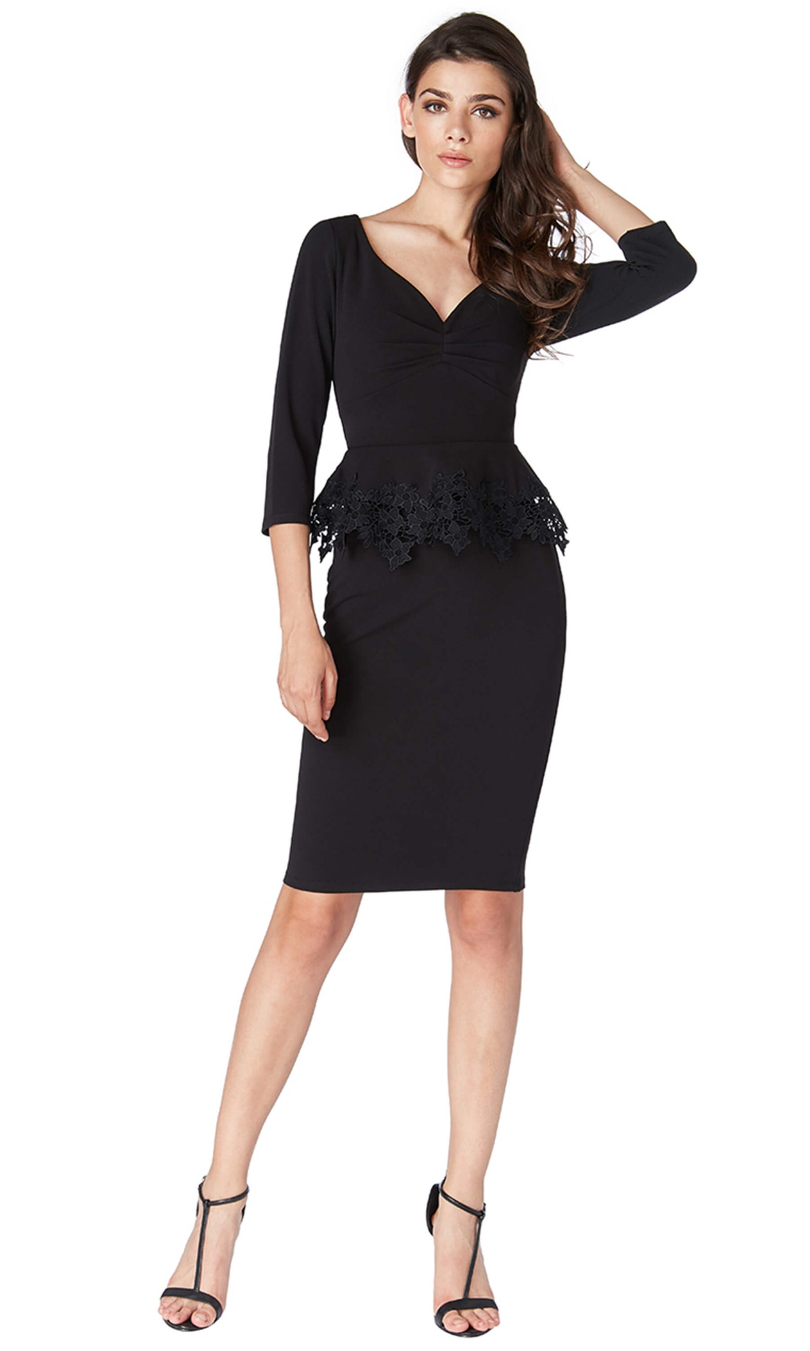 DR1708 Black City Goddess Peplum Cocktail Party Dress - Fab Frocks