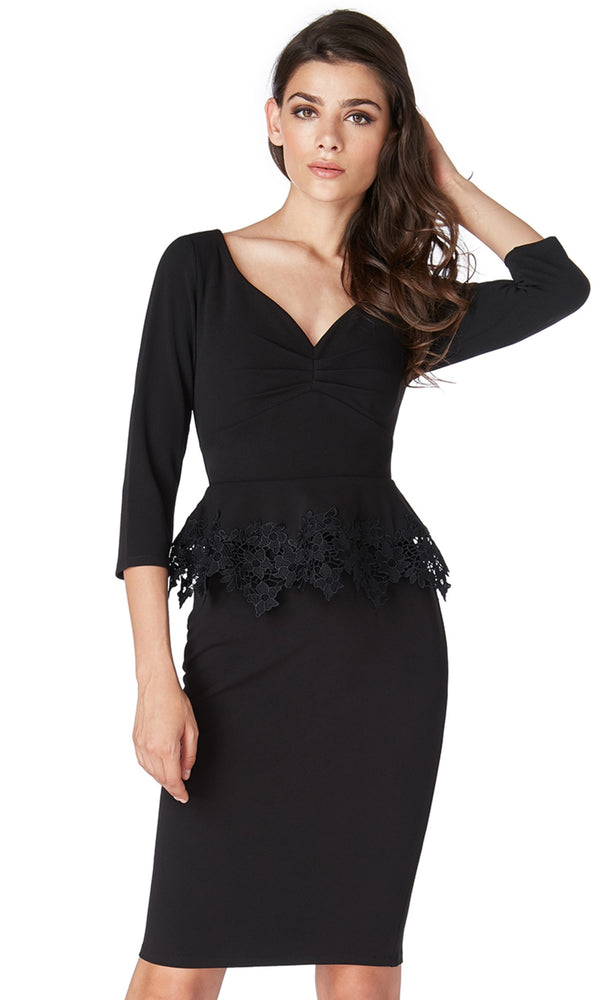 DR1708 Black City Goddess Peplum Cocktail Party Dress
